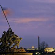 View Of The Iwo Jima Monument Print by Kenneth Garrett