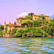 Villa On Lake Como Print by Dominic Piperata