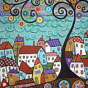 Village By The Sea Print by Karla Gerard