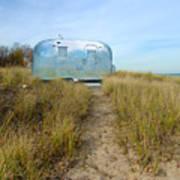 Vintage Camping Trailer Near The Sea Print by Jill Battaglia