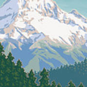 Vintage Mount Hood Travel Poster Print by Mitch Frey