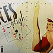 Vintage Nose Art Aces High Print by Cinema Photography