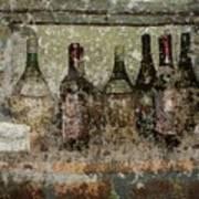 Vintage Wine Bottles - Tuscany  Print by Jen White