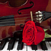 Violin And Rose On Piano Print by Garry Gay