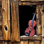 Violin In Window Print by Garry Gay