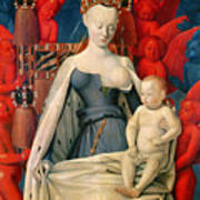 Virgin And Child Surrounded By Angels Print by Jean Fouquet