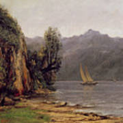 Vue Du Lac Leman Print by Gustave Courbet