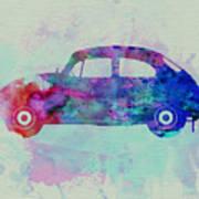 Vw Beetle Watercolor 1 Print by Naxart Studio