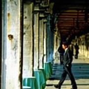 Waiter Walking At San Marco In Venice Print by Michael Henderson