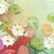Waterlillies At Dusk No 2 Print by Jennifer Lommers