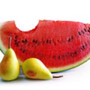 Watermelon And Pears Print by Carlos Caetano