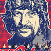 Waylon Jennings Pop Art Print by Jim Zahniser