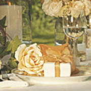 Wedding Party Favors On Plate At Reception Print by Sandra Cunningham
