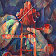 Well Conducted - Painting Of Cello Head And Conductor's Hands Print by Susanne Clark
