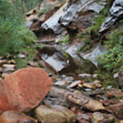 West Fork Trail River And Rock Horizontal Print by Heather Kirk