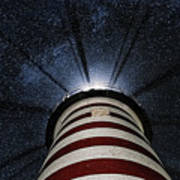 West Quoddy Head Lighthouse Night Light Print by Marty Saccone