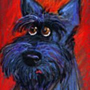 whimsical Schnauzer dog painting Print by Svetlana Novikova