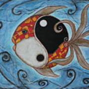 Whimsy Fish 3 Yin And Yang Print by Rain Ririn