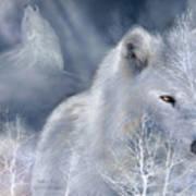 White Wolf Print by Carol Cavalaris
