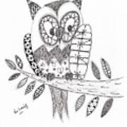 Who Says The Owl Print by Paula Dickerhoff