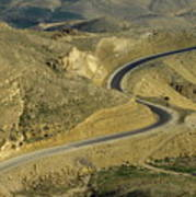 Winding  King Road In Wadi Mujib Valley Print by Sami Sarkis