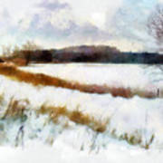 Windmill In The Snow Print by Valerie Anne Kelly