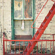 Window And Red Fire Escape Print by Gary Heller