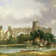 Windsor Castle - From The Thames Print by Alfred Vickers