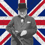 Winston Churchill And His Flag Print by War Is Hell Store