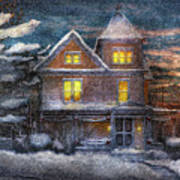 Winter - Clinton Nj - A Victorian Christmas  Print by Mike Savad