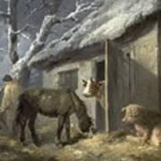 Winter Farmyard Print by George Morland