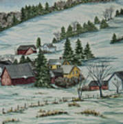 Winter In East Chatham Vermont Print by Charlotte Blanchard