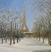 Winter In Paris Print by Kiril Stanchev