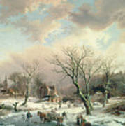Winter Scene   Print by Johannes Petrus van Velzen