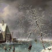 Winter Scene Print by Louis Claude Mallebranche
