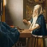 Woman Holding A Balance Print by Jan Vermeer