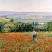 Woman In A Poppy Field Print by Leon Giran Max