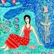 Woman Reading Beside Fountain Print by Sushila Burgess