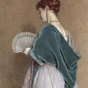 Woman With A Fan Print by John Dawson Watson