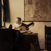 Woman With A Lute Print by Jan Vermeer
