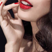 Woman With Red Lipstick Closeup Of Sensual Mouth Print by Oleksiy Maksymenko