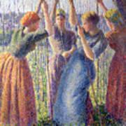 Women Planting Peasticks Print by Camille Pissarro