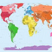 World Map Continents Print by Michael Tompsett