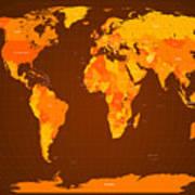 World Map Fall Colours Print by Michael Tompsett