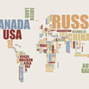 World Map In Words 2 Print by Michael Tompsett