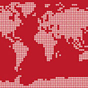 World Map Love Hearts Print by Michael Tompsett