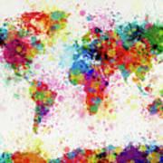 World Map Paint Drop Print by Michael Tompsett
