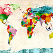 World Map Watercolors Print by Michael Tompsett