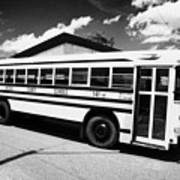 yellow american bluebird school bus in Lynchburg tennessee usa Print by Joe Fox
