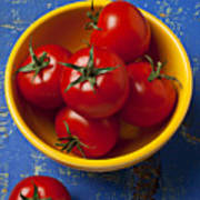 Yellow Bowl Of Tomatoes  Print by Garry Gay